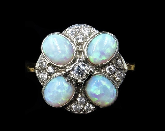 Opal and Paste Cluster Round 18ct 18K Gold Gilded Silver Ring | Antique Art Deco Style