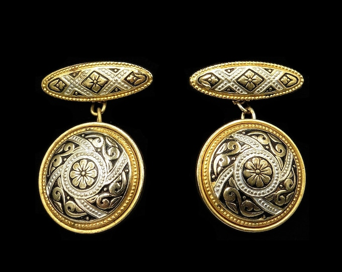 Vintage Fancy Black Enamel Rolled Gold Cufflinks | Antique