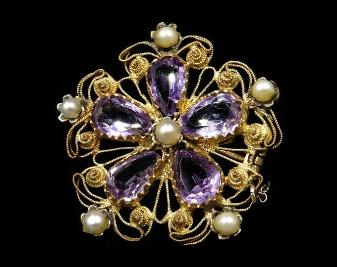Antique Victorian Amethyst and Pearl Gold Gilded Silver Pansy Flower Brooch Pin | Circa. 1880