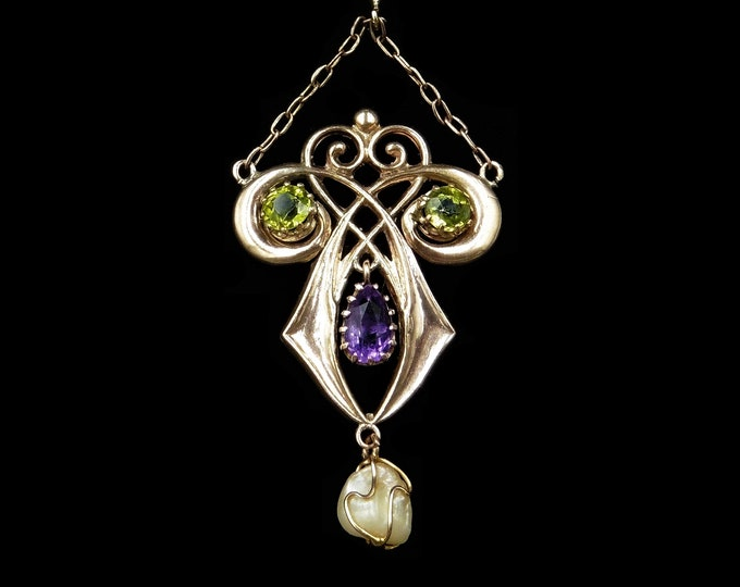 Antique Edwardian Amethyst Peridot and Pearl Lavalier 9ct 9K Gold Pendant | Suffragette Chester 1907