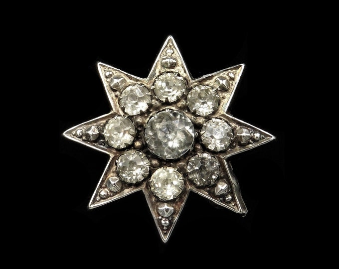 Antique Victorian Old Cut Paste Sterling Silver Star Brooch Pin | Circa.1880