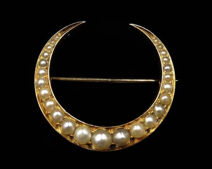 Antique Victorian Pearl Crescent Moon 15ct 15K Yellow Gold Brooch Pin   Circa. 1890