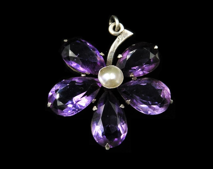 Antique Victorian Amethyst and Pearl Silver Pansy Flower Pendant | Circa. 1890