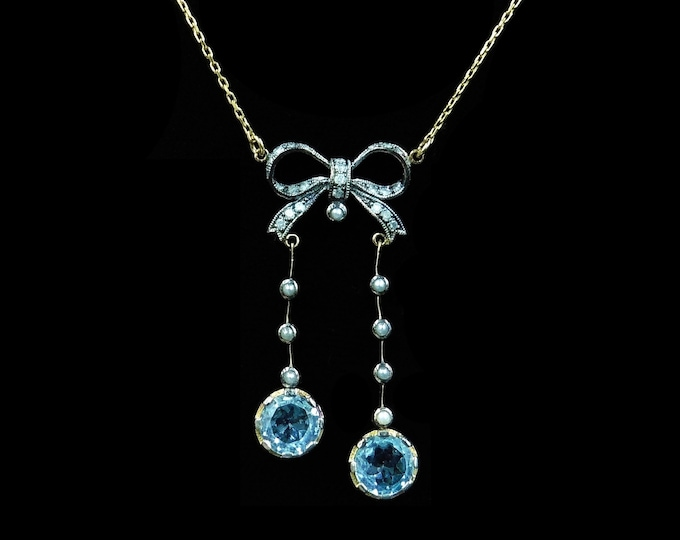 Blue Topaz Diamond and Pearl Bow Drop 9ct 9K Yellow Gold Necklace | Antique Edwardian Style