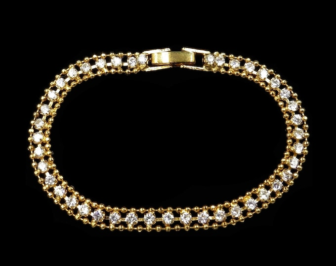 "Vintage Rhinestone Gold Plated Small Petite Bracelet   6.5"""