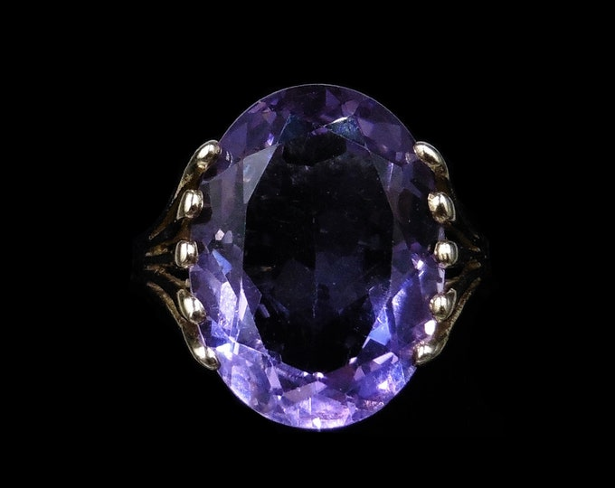 Vintage Amethyst 9ct 9K Yellow Gold Oval Solitaire Statement Cocktail Ring | London 1988