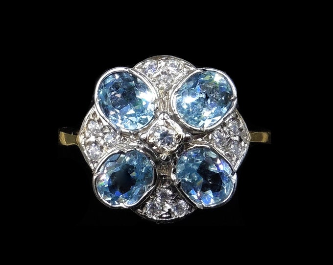 Blue Paste Round Cluster 18ct Yellow Gold Gilded Silver Ring | Art Deco Style