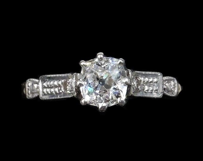 Antique Old European Cut Diamond Solitaire Platinum and 18ct Yellow Gold Ring   Deco Engagement Ring Circa.1920