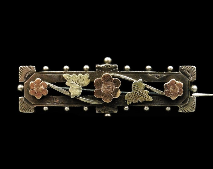 Antique Flower and Ivy Sterling Silver and Rose Gold Bar Brooch Pin | Edwardian | Hallmarked 1901