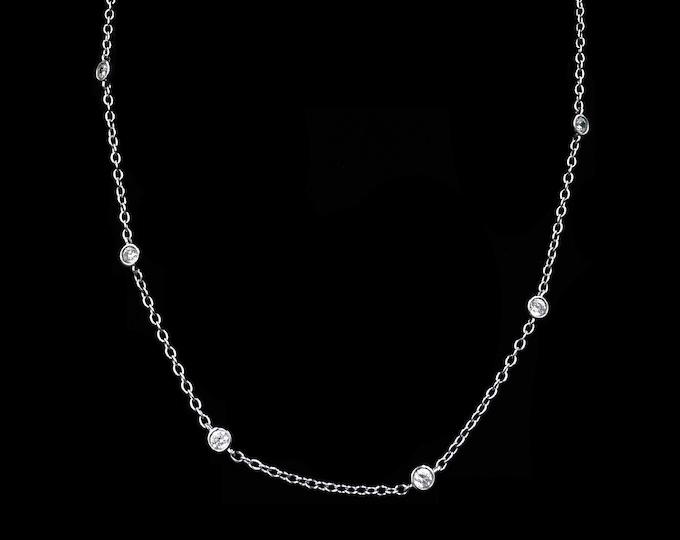 "Bezel Set Crystal Short Chain Sterling Silver Necklace | 18"""