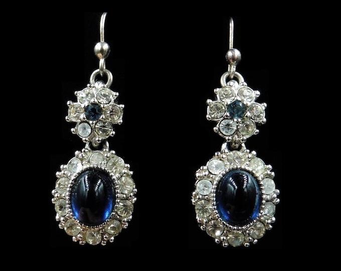 Vintage Blue Sapphire Paste Cabochon Cluster Silver Drop Dangle Earrings