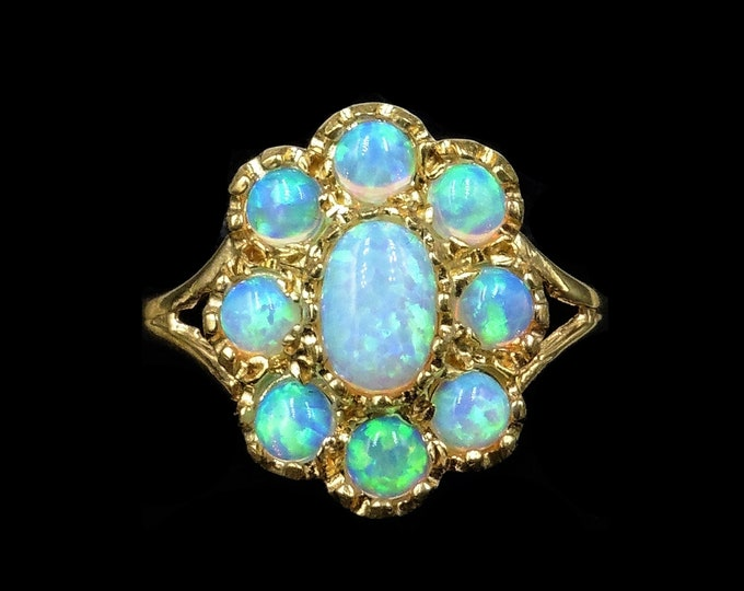 Opal Cluster Flower 18ct 18K Yellow Gold Gilded Silver Ring | Antique Victorian Style