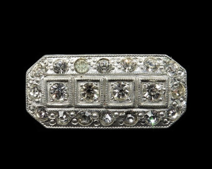 Art Deco Old Cut Paste Silver Oblong Rectangle Fancy Brooch Pin | Antique c.1920