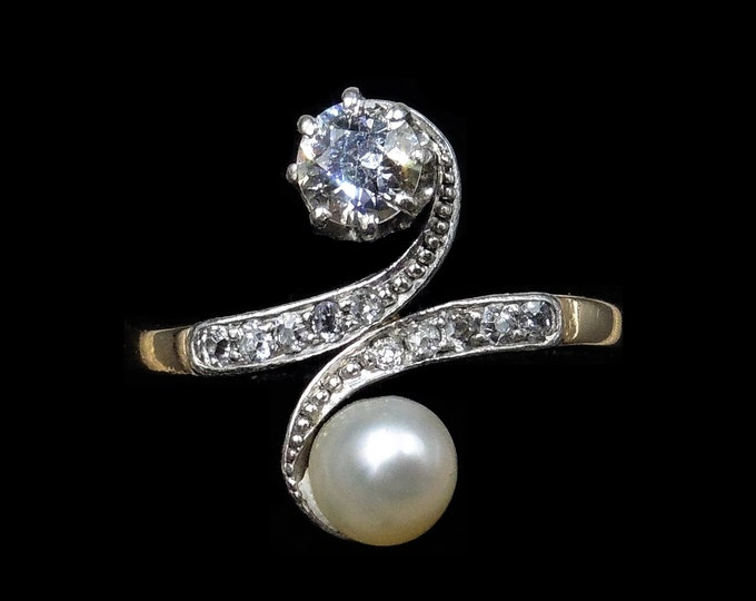 Antique Edwardian Diamond and Pearl Toi Et Moi 18ct 18K Yellow Gold and Platinum Ring | Engagement | Belle Epoque c.1900