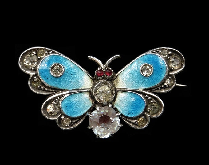 Antique Blue Enamel Paste and Saphiret Silver Butterfly Insect Brooch Pin | Circa.1900