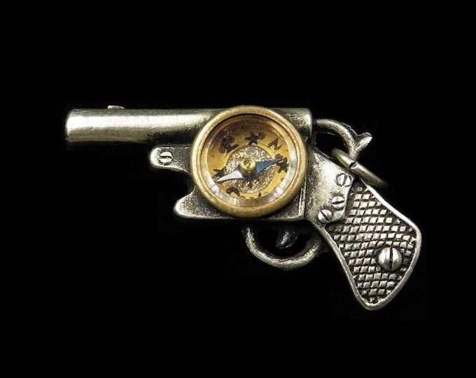 Antique Vintage Silver Gun Pistol Compass Charm Pendant