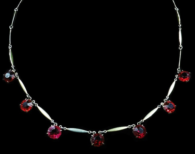 Art Deco Red Paste Rolled Gold Riviere Necklace | Antique Circa. 1920 | 16""