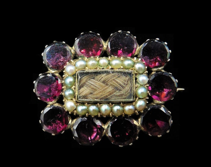 Antique Georgian Flat Cut Garnet Seed Pearl 9ct 9K Yellow Gold Lace Pin Brooch | Circa. 1820