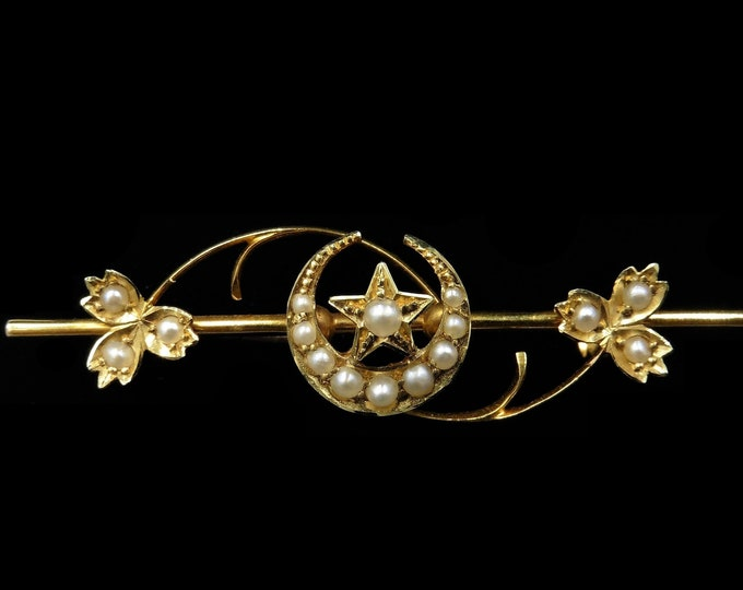 Antique Victorian Pearl Crescent Moon and Star 15ct 15K Yellow Gold Bar Brooch Pin | Circa.1890