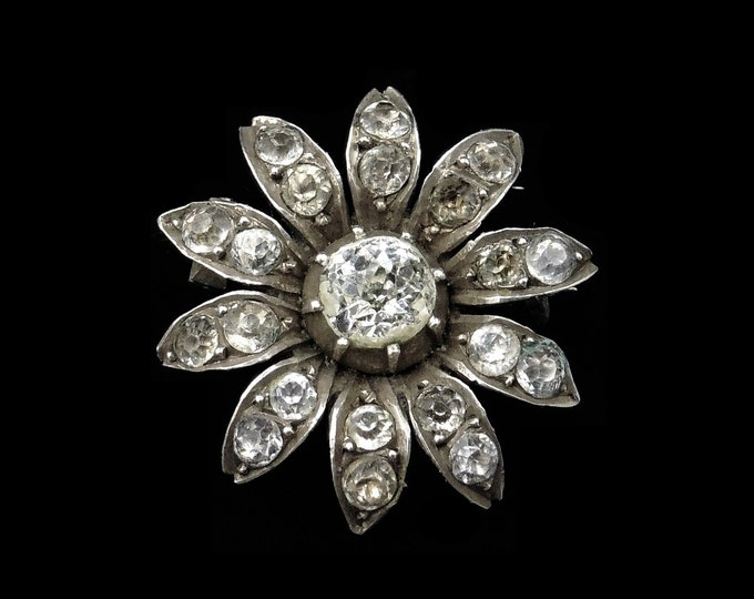 Antique Victorian Old Cut Paste Sterling Silver Flower Daisy Brooch Pin | Circa.1840