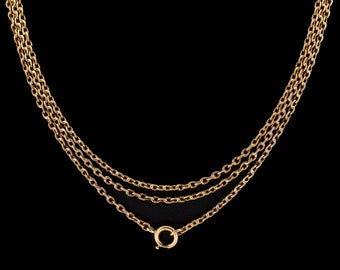 """Antique Victorian Long Guard Muff Chain Rolled Gold Necklace with Bolt Ring Fastener   54"""""""
