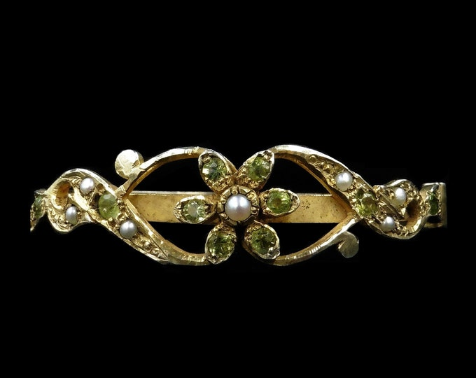 Antique Victorian Peridot and Pearl Floral Fancy Yellow Gold Gilt Silver Bangle Bracelet | Circa.1890