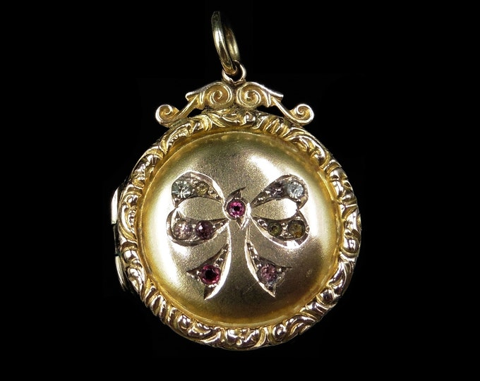 Antique Edwardian Paste Bow 9ct 9K Yellow Gold Round Fancy Locket Pendant | Circa.1900