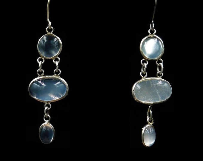 Vintage Moonstone Sterling Silver Chandelier Drop Earrings | Antique