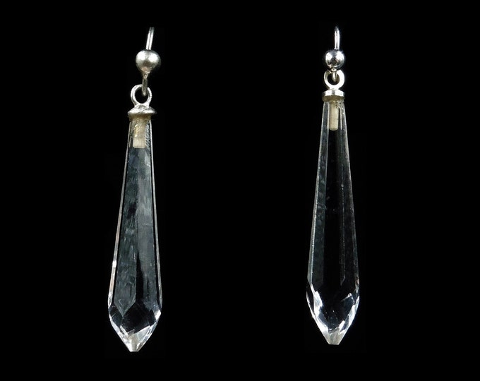 Antique Faceted Briolette Rock Crystal Sterling Silver Drop Dangle Earrings | Art Deco Circa.1920