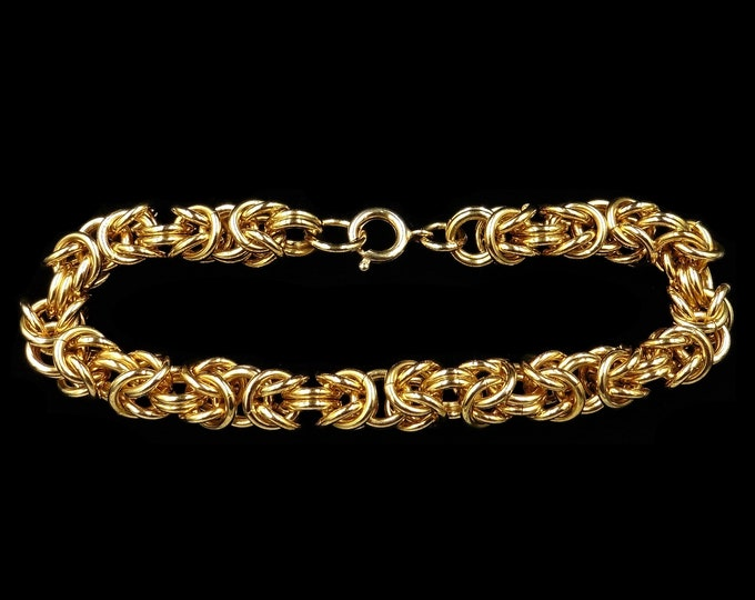 Vintage 18ct 18K Yellow Gold Gilded Fancy Intertwined Bracelet   Antique Style