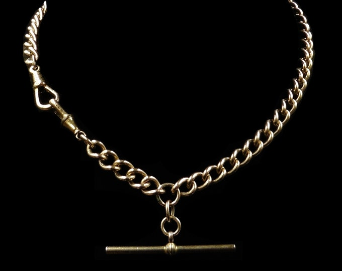 """Antique Victorian Short Albert Curb Watch Chain 18ct 18k Rolled Gold Necklace 