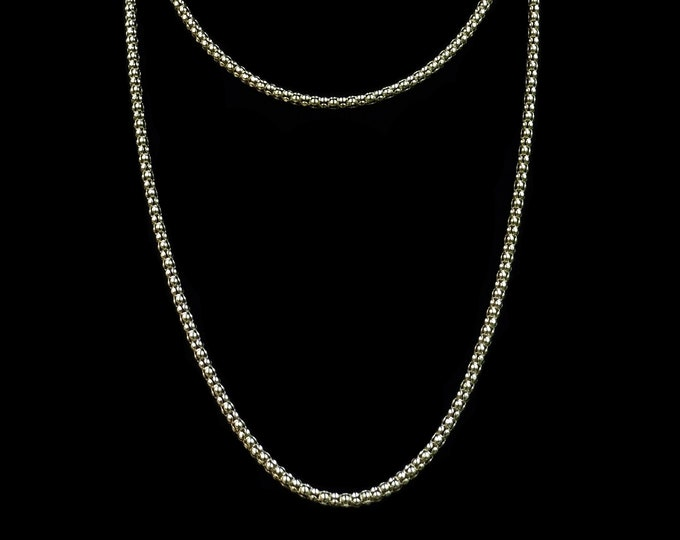 Italian 18ct Yellow Gold on Sterling Silver Fancy Long Popcorn Chain Necklace | 32""