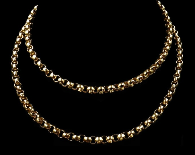 Antique Vintage Long Gold Gilded Belcher Chain Necklace | 26""