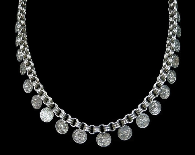 "Antique Victorian Aesthetic Coin Sterling Silver Chain Collar Necklace | 16"" Length with Bolt Ring"