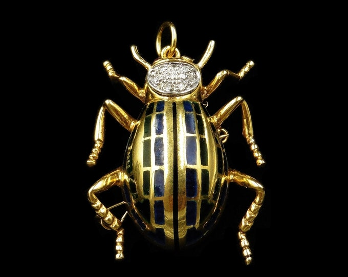 Vintage Diamond Ruby and Enamel 18ct 18K Yellow Gold Bug Insect Beetle Pendant | Plique a Jour