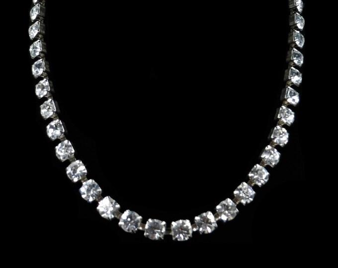 "Vintage Art Deco Old Cut Paste Silver Short Riviere Necklace | Circa.1920-30 | 16"""