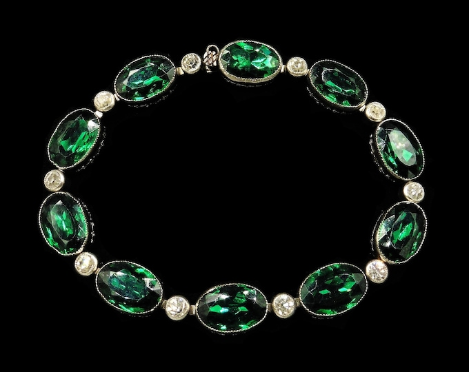 Vintage Green Paste Bezel Set Silver Bracelet | Antique Art Deco | 7""