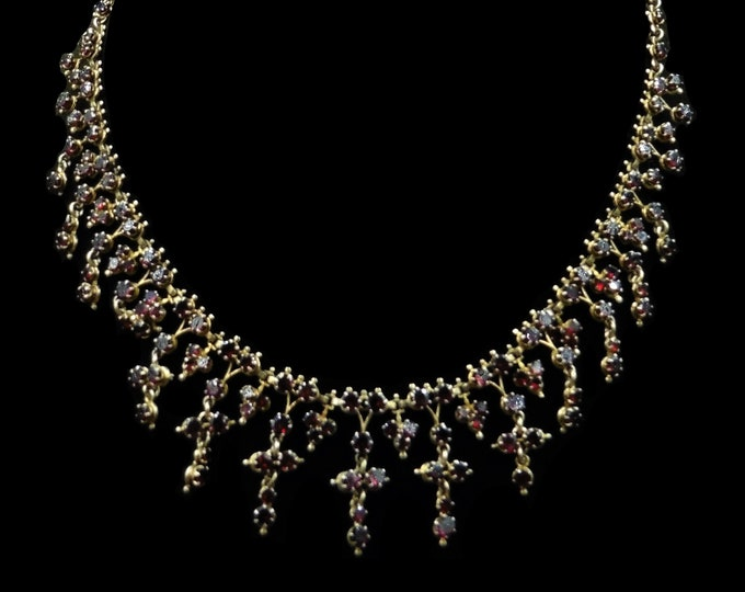 Antique Victorian Bohemian Garnet Silver Gilt Gold Fringe Drop Necklace | Circa.1880