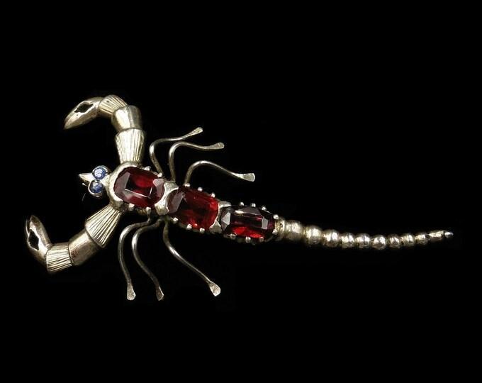 Antique Victorian Garnet and Sapphire Scorpion Sterling Silver Brooch Pin | Circa.1900