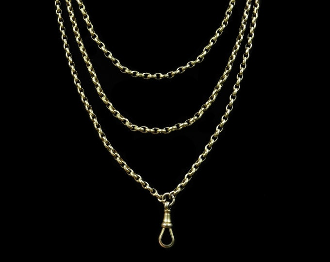 "Antique Victorian Long Belcher Guard Chain Yellow Gold Fill Necklace | Muff Chain | 52"" Length with Dog Clip"