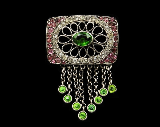 Antique Old Cut Green and Pink Paste Sterling Silver Brooch Pin | Victorian Edwardian c.1900