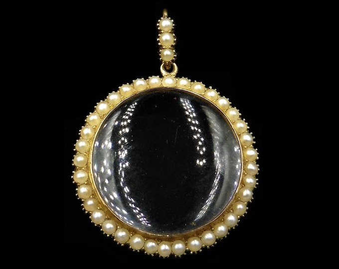 Antique Victorian Pearl and Rock Crystal Round 15ct 15K Yellow Gold Shaker Locket Pendant | Circa.1890