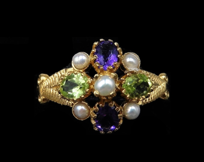 Amethyst Peridot and Pearl Cluster 18ct 18K Yellow Gold on Silver Ring | Suffragette Style Ring