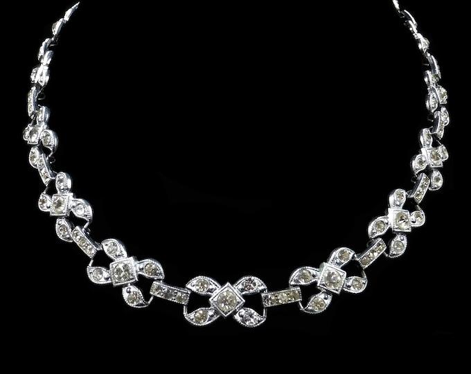 "Art Deco Old Cut Paste Bow Silver Short Riviere Necklace   Circa.1920-30   15"""
