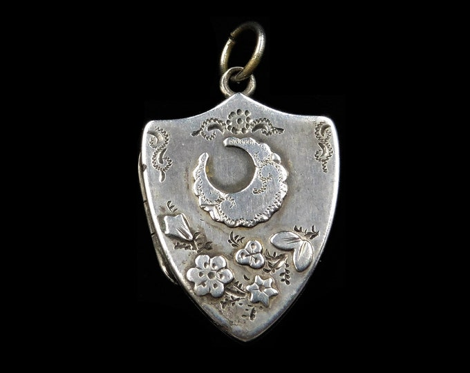 Antique Victorian Crescent Moon Shield Sterling Silver Photo Locket Pendant | Initialled AEG | Birmingham 1893