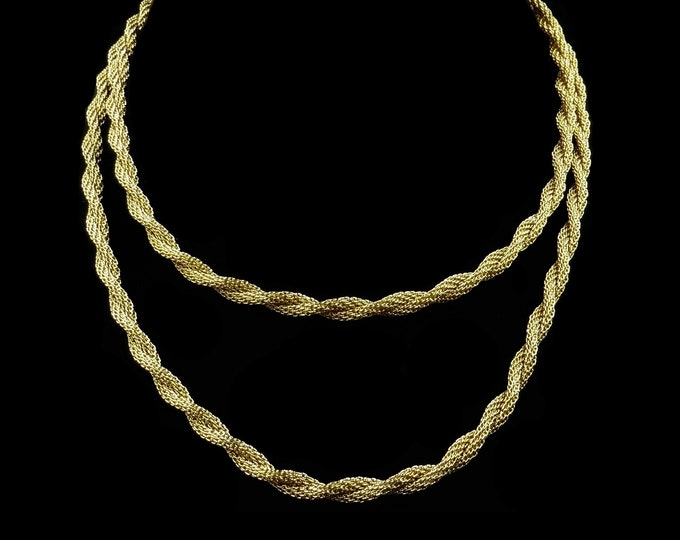 """Vintage Twist Rope 31"""" Long Chain 18ct Gold Plate Necklace   Antique Chain"""