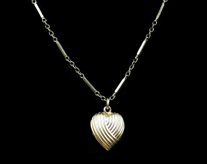 Antique Puffy Heart Rolled Gold Pendant and Fancy Chain Necklace | Victorian Circa.1890 | 15""