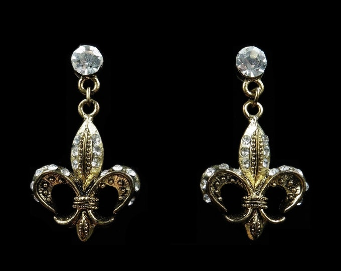 Fleur-de-lis Gold Plate Drop Dangle Rhinestone Earrings | Vintage Style