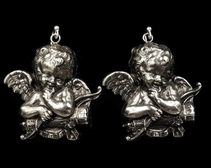 Vintage Statement Large Cherub Cupid Angel Silver Earrings