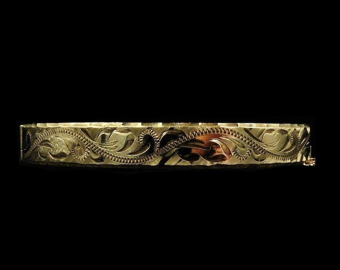 Vintage Engraved Fancy 9ct Rolled Gold Bangle Bracelet   Antique Victorian Style